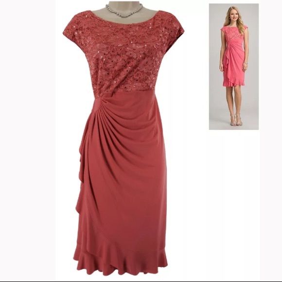 Dressbarn Collection Dresses 18w 2xcoral Sparkly Lace Cascade